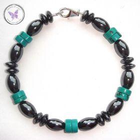 Men's Hematite & Turquoise Healing Bracelet